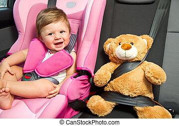 baby, ind, en, sikkerhed, automobilen, seat.