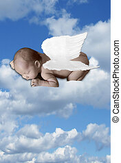 Baby Infant In Clouds With Wings - Heavenly Baby In Clouds...