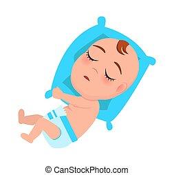 Baby Infant in Diaper Sleeps on Blue Pillow Vector