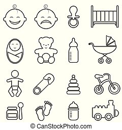 Baby, infant, newborn and birth line icons