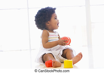 baby, inomhus, leka, med, kopp, toys
