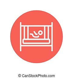 Baby inside the crib thin line icon for web and mobile minimalistic flat design. Vector white icon inside the red circle