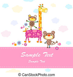 baby invitation card with cute animals