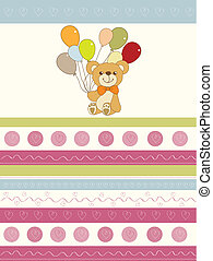 baby invitation with teddy bear and balloons