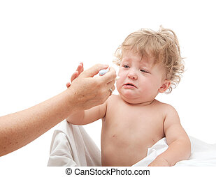 baby is crying and does not want to eat from a spoon, which give