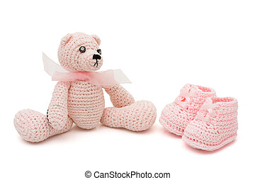Baby Items - Handmade pink baby booties and teddy bear...