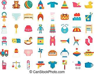 Baby items icon set, flat style