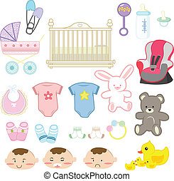 Baby items - Vector illustration of a collection of baby ...
