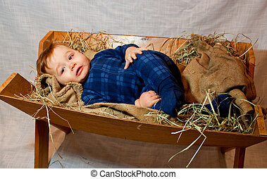 baby Jesus in a manger - a close up rendered image of Baby...