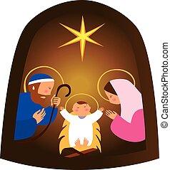 Baby Jesus in a manger vector