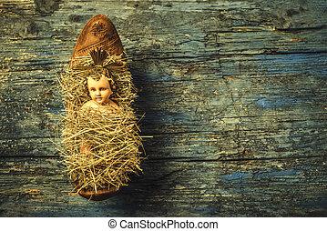 Baby Jesus in colgs crib