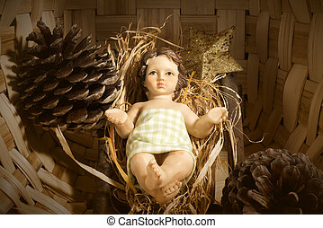 Baby Jesus in the crib Christmas card - Christmas background...