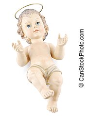 Baby Jesus lying on white
