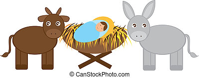 Baby Jesus with Donkey and ox isolated over white...