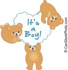 baby jongen, beer, douche, teddy