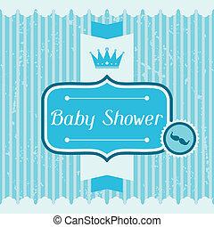 baby jongen, card., douche, uitnodiging