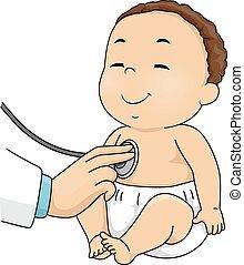baby jongen, de controle van de arts omhoog