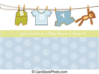 baby jongen, douche, aankondiging, kaart