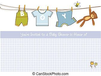 baby jongen, douche, kaart, aankondiging