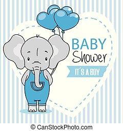 baby jongen, douche, kaart