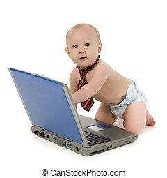 baby jongen, draagbare computer, vastknopen
