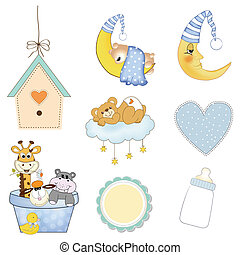 baby jongen, items, set, in, vector, formaat, vrijstaand, op...
