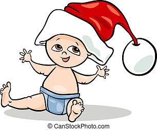 baby jongen, kerstman, spotprent, illustratie