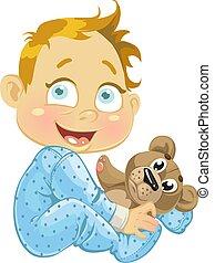 baby jongen, met, een, zachte speelbal, bear(0).jpg
