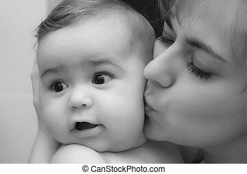 baby jongen, met, moeder