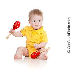 baby jongen, met, muzikalisch, toys., vrijstaand, op wit, achtergrond