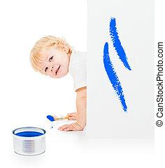baby jongen, met, verfborstel, op alle vieren, achter, geverfde, witte muur