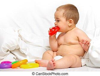 baby jongen, spelend, in, de, bed