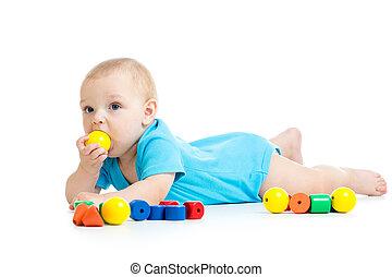 baby jongen, spelend, met, blok, speelgoed