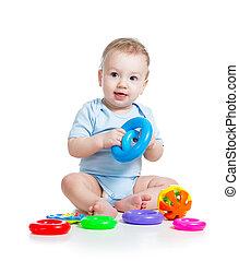 baby jongen, spelend, met, kleur, speelgoed