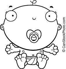 baby jongen, spotprent, pacifier