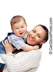 baby jongen, vrolijke , moeder