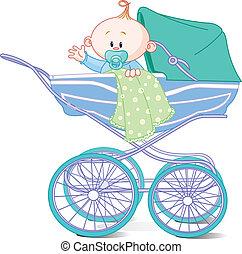 baby jongen, wagen, zittende