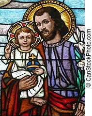 baby, joseph, heilige, vasthouden, jesus