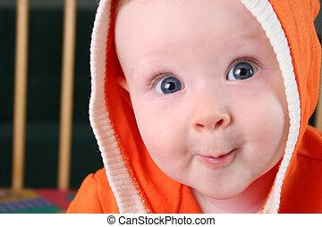 baby- junge, 2, kapuze, lächeln