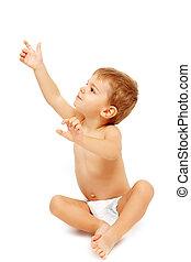 baby- junge, auf, zeigen, windeln