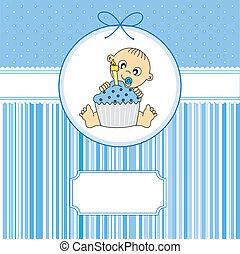 baby- junge, mit, a, geburtstagskuchen