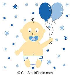 baby- junge, mit, luftballone