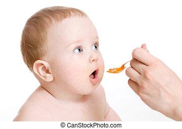 baby- junge, weißes, fütterung, freigestellt
