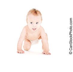 baby- junge, windel, krabbelnd