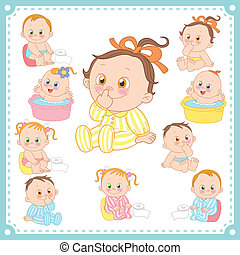 baby- jungen, vektor, mädels, abbildung