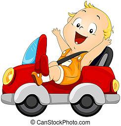 baby, kørende, automobilen