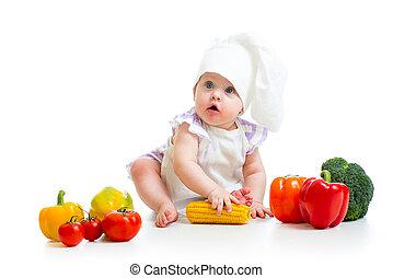 baby, küchenchef, mit, gesundes essen, gemuese