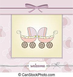 baby, kaart, delicaat, douche, tweeling