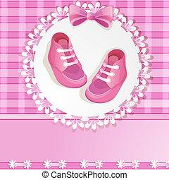 baby, kaart, douche, roze