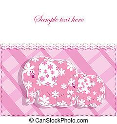 baby, kaart, olifanten